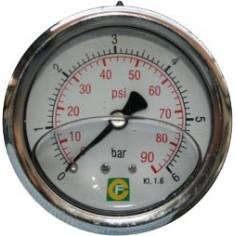 Manomètre axial Ø63 inox à glycérine