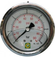 Axial manometer Ø63 stainless steel glycerin