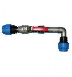 Tête de forage inox avec raccords PEHD, coude à 90°, clapet anti-retour, vanne à sphère, conforme ACS