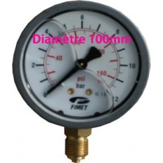 Manomètre radial Ø100 inox à glycérine