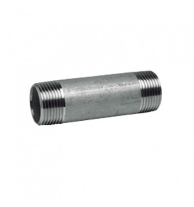 Mamelon tube 200 mm fileté - inox 316L