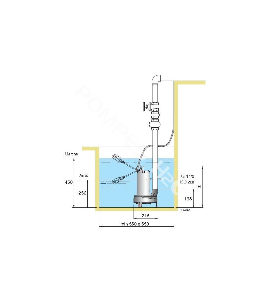 Pompe submersible de relevage tout inox pour eaux charg es - Pompe de relevage eaux usees ...