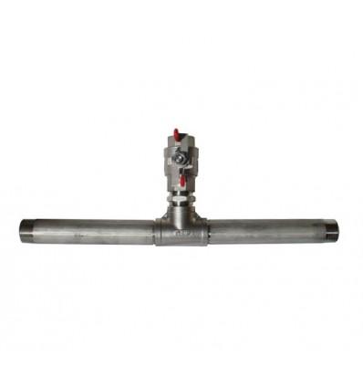 Té de raccordement inox 316 avec manchon 200 mm inox 316 + vanne femelle inox 316 - Conforme ACS
