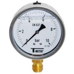 Manomètre radial boîtier inox Ø50 à bain de glycérine