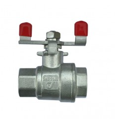 2 pieces stainless steel ball valve PN63 with red butterfly handle