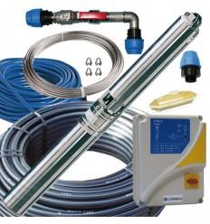 Kit pompe forage, coffret manque d'eau, cable électrique, tube PEHD, raccords inox 316, filin nox, tête de forage inox 316
