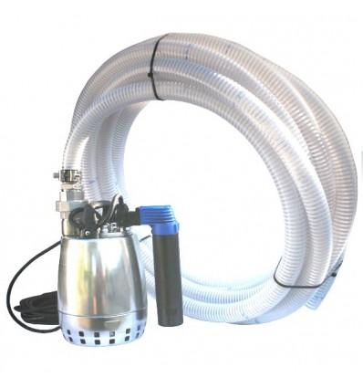 Kit pompe de relevage 0.45 Kw monophasé, particules 10 mm maxi avec tuyaux de refoulement 5, 10 ,ou 20m, raccord démontable inox