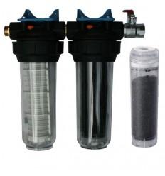 """Kit filtre duo 10"""" pour eaux brutes MKPRO charbon actif"""