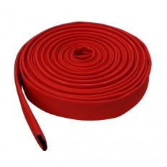 Tuyau enroulable à plat rouge caoutchouc tissé - PS 10-15 bar (bobine)