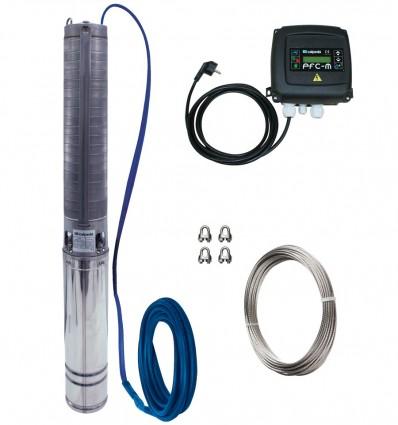 """Pompe de forage 4"""" Calpeda 4SDXM tout inox équipée avec cable électrique, filin inox, coffret manque d'eau"""