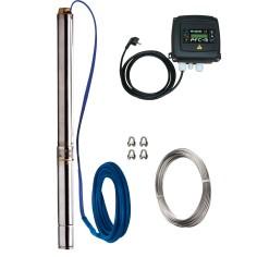 """Pompe forage 3"""" Calpeda 3SD MONO ou TRI avec cable électrique, câble inox 4 mm, coffret de commande PFC-TM ou PFC-T"""