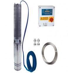 """Pompe de forage 4"""" Calpeda 4SDX triphasé, tout inox 304, avec cable électrique, filin inox, coffret manque d'eau"""