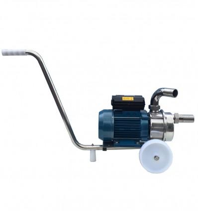 Pompe de transfert inox 316 - modèle ALM sur chariot inox avec raccords à visser M/F embouts cannelés inox 316