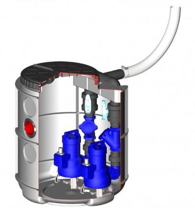 Station de relevage eaux chargées DRAIN'UP 2 pompes