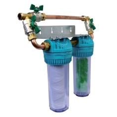 Filtre duplex anti-tartre AQUAPHOS Pro, traitement anti-tartre et anti-corrosion, et filtration des impuretées