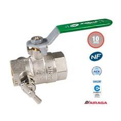 Vanne à sphère laiton F/F avec purge - AIRAGA NF et ACS
