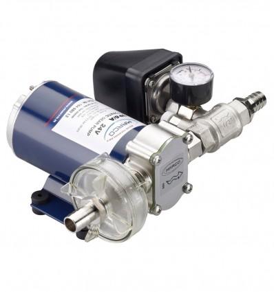 Groupe de pression 12/24V avec pressostat, manomètre, clapet anti-retour - Débit 26 l/min - PS 2 bar