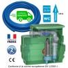 Kit station de relevage eaux chargées avec pompe roue vortex, passage 50 mm, 1.10 Kw + 50m de tuyau PVC souple