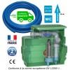 Kit station de relevage eaux chargées 0.55 Kw avec pompe à roue vortex, passage 50 mm + 50m de tuyau PVC souple