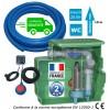 Kit station de relevage eaux chargées habitation 1.10 Kw - Cuve 250L à poser ou à enterrer, tuyau PVC 50 m, kit alarme