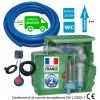 Kit station de relevage eaux chargées habitation 0.55 Kw - Cuve 250L à poser ou à enterrer, tuyau PVC 50 m, kit alarme