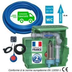 Station de relevage eaux chargées habitation 0.55 Kw, jusqu'à 20 Eh + tuyau PVC 25 m + kit alarme