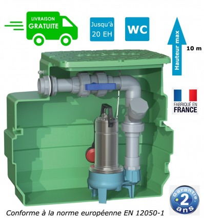 station de relevage eaux chargées habitation - hauteur max 10 m - Monophasé 1.10 Kw