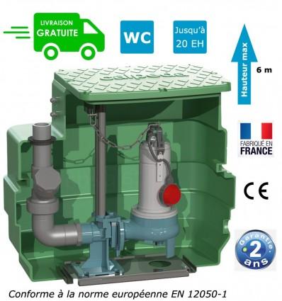 Station de relevage eaux chargées avec pompe 0.55 Kw - Pompe à roue vortex - Pied d'assise et guidage