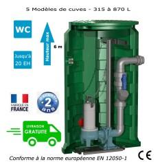Station de relevage eaux chargées avec pieds d'assise et barres de guidage Calpeda Calidom GQVM 50-8 - 0.55 Kw monophasé
