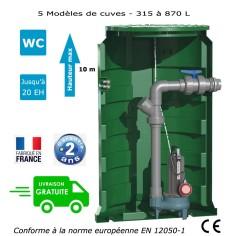 Station de relevage eaux chargées habitation - Calidom GQSM 50-13 - Puissance 1.10 Kw