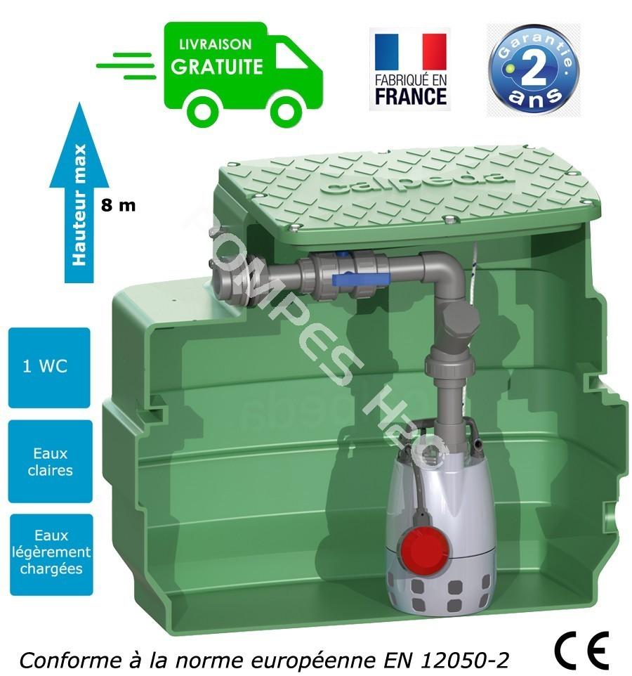 station de relevage eaux us es studio 1 wc pompe roue vortex passage 25 mm puissance