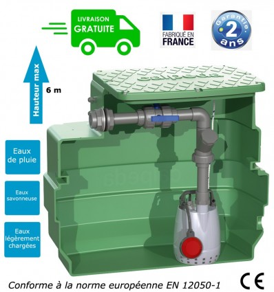 Pump station : 1 pump open impeller (0.25kw - 230V) & capacity tank 230L