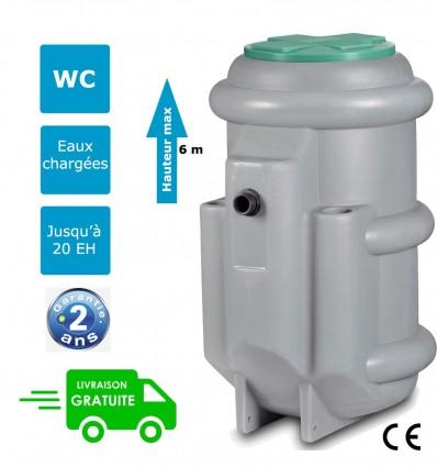 Station de relevage pour eaux usées avec pompe à roue vortex, barres de guidage - FLYGT MICRO 7 TER 1000 DXVM 50-7