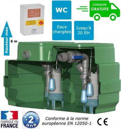 Poste de relevage 2 pompes vortex - Evacuation Eaux usées - Eaux chargées - Eaux pluviales - Cuve 500L