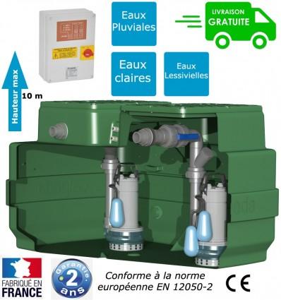Station de relevage deux pompes, eaux de pluie, eaux claires ou lessivielles, cuve de 500 litres, puissance 0.55 Kw
