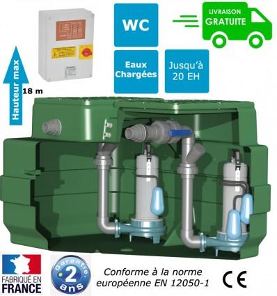 Station de relevage 2 pompes broyeuses monophasé pour les eaux chargées - Puissance 1.50 Kw