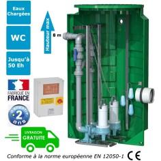 Station de relevage deux pompes eaux usées-chargées Puissance 2 x 1.10 Kw Alarme trop plein cuve