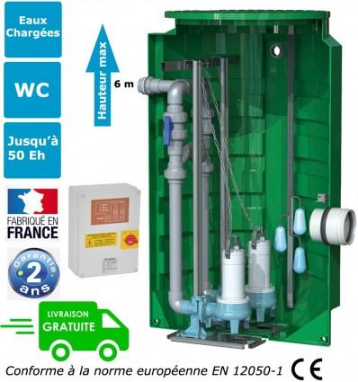 Station de relevage 2 pompes eaux chargées montées sur pieds d'assises et barres de guidages - CALIDOUBLE PA 8