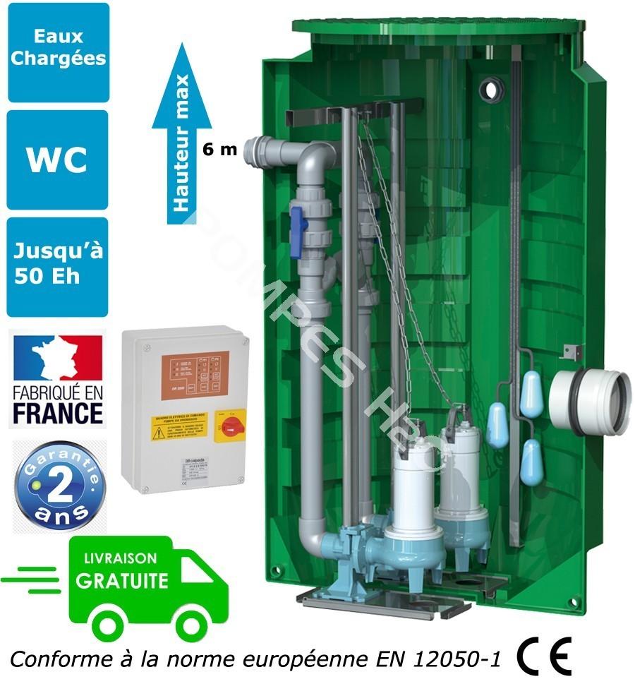 station de relevage 2 pompes eaux charg es calidouble 8 pieds d 39 assies. Black Bedroom Furniture Sets. Home Design Ideas