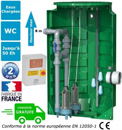 Station de relevage 2 pompes de relevage eaux usées, eaux chargées, eaux de pluie, puissance 2 x 1.10 Kw - Alim mono