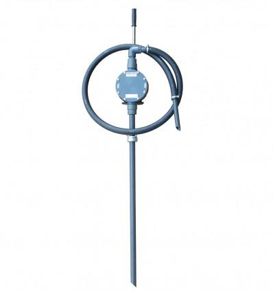Pompe à membrane manuelle ACIDE, tube plongeur, bec verseur, et coude en inox, tuyau UPE