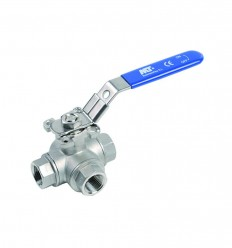 "3 way ball valve in stainless steel 316 - ""L"" port"