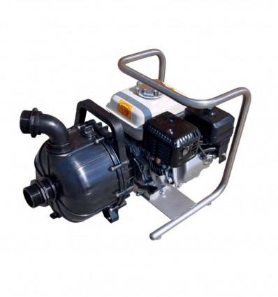 "Motopompe essence liquides agressifs, eau de mer, corps polypropylène, moteur Honda GX120, châssis inox, E/S 2"""