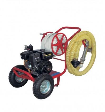 Motopompe incendie 6.5 CV sur chariot avec dévidoir tuyaux pompier