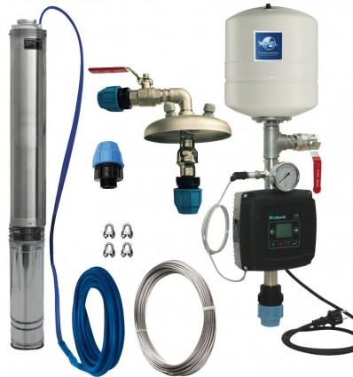 Kit pompe forage inox 4SM 35 équipée + kit variateur vitesse (1.5 à 3.5 m3/h)